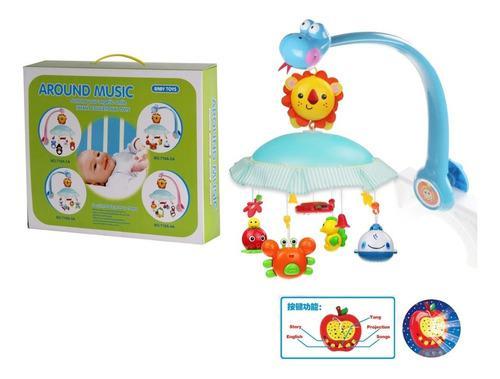 Movil musical para bebes funciona con pilas, con proyector