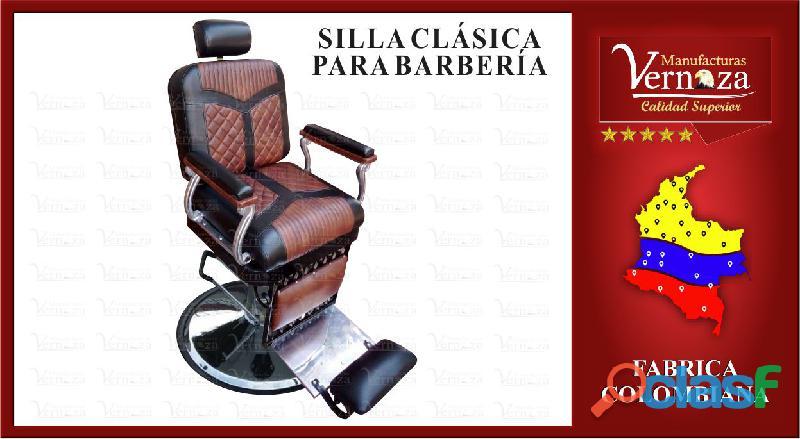 Silla de barberia reclinable y en cuerotex de excelente calidad