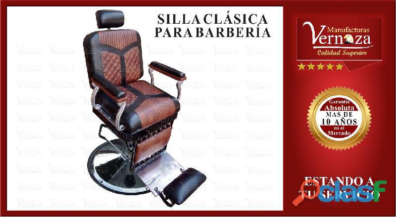 Silla para barberia tipo clasica con lineas para un toque elegante