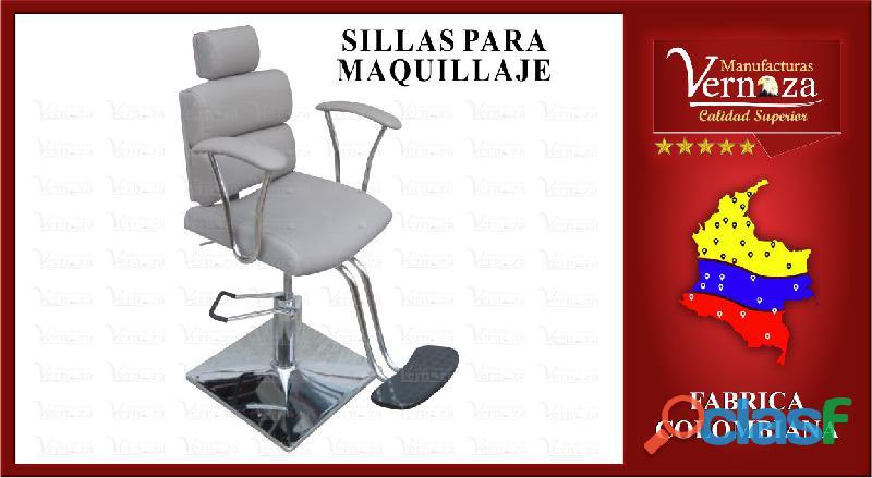 18 silla con reposa pies y comodo espaldar para realizar maquillajes
