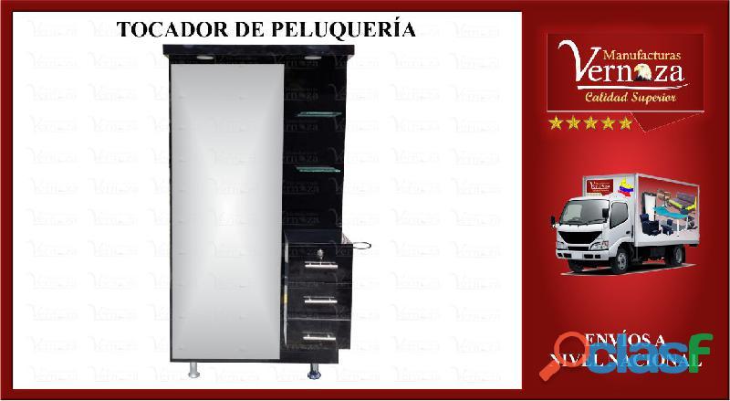 DISTINGUIDO TOCADOR DE PELUQUERIA, INCLUYE COMODO AUXILIAR