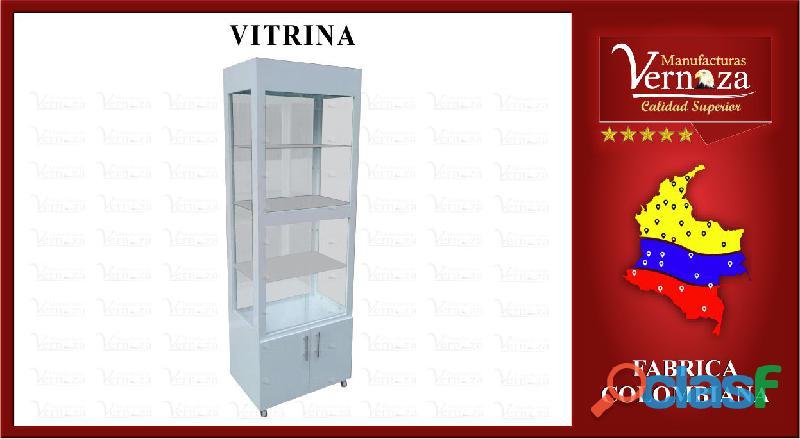 Vitrina 40 x 40 tipo torre de madera y vidrio