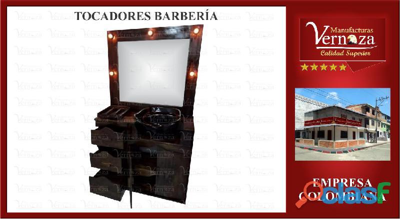 14 tocador para barberia con espejo biselado y 3 cajones espaciosos