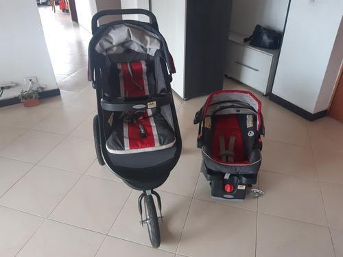Graco fastaction chili red coche + silla carro porta bebe