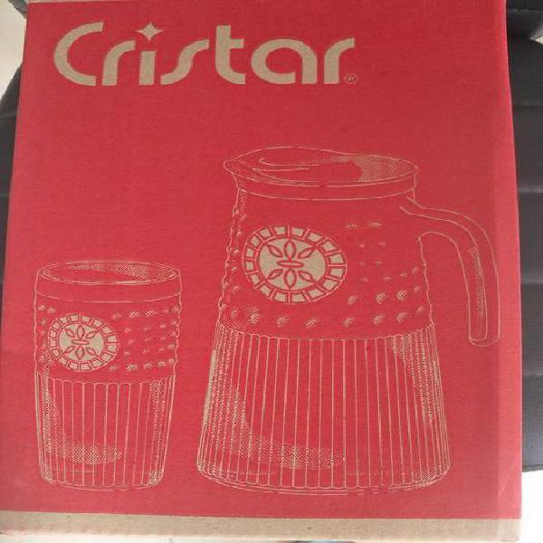Set de jarra y 4 vasos marruecos - cristar ¡nuevo!