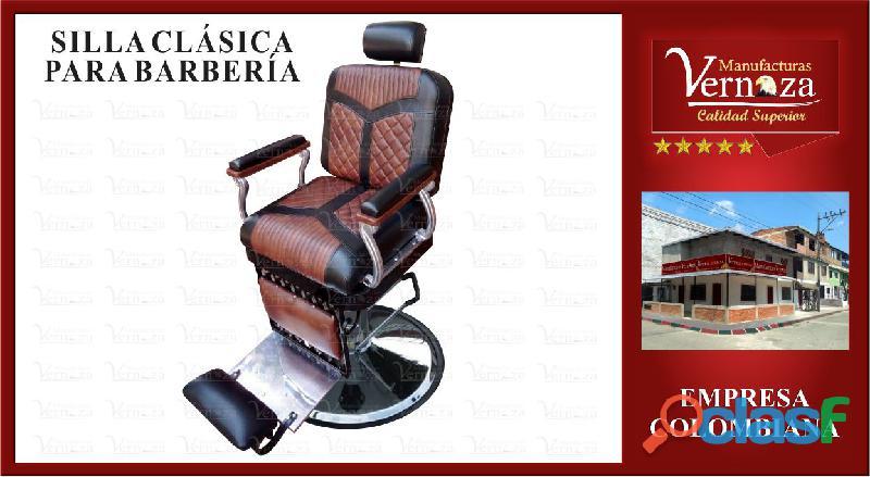 Fina silla para barberia clasica muy confortable
