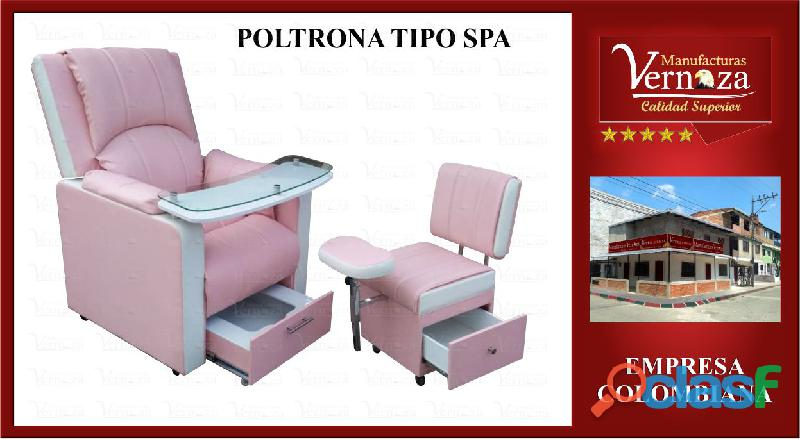 POLTRONA SPA PARA PEDICURA CON ESPALDAR RECLINABLE