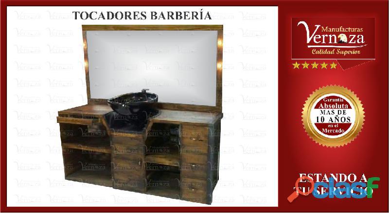 13 DISTINGUIDO TOCADOR PARA BARBERIA CON LUCES Y MAS