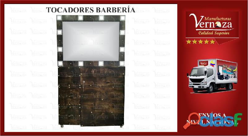 15 TOCADOR PARA BARBERIA UNIFICADO CON 3 AMPLIOS CAJONES