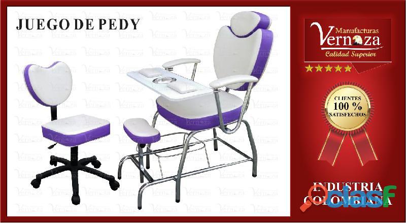 8 silla de pedicura y manicura palo rosa en herraje de pulgada.