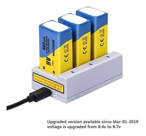 9v baterías litio, li-ion 800mah recargable 3 paquetes car