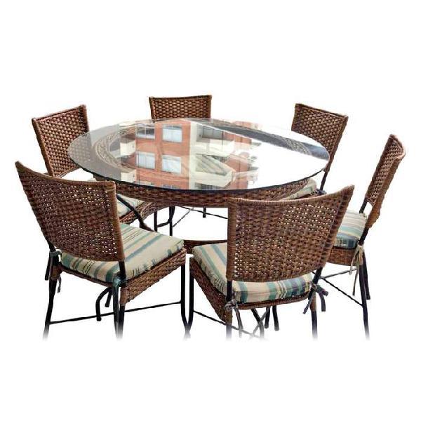 Comedor en rattan con 6 sillas