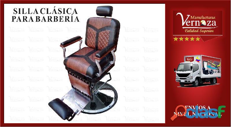0202 silla de barberia clasica hidraulica con brazos en aluminio