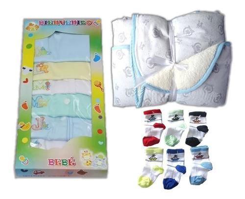 Ajuar bebe recien nacido 7 camisas+cobija+12 medias niño