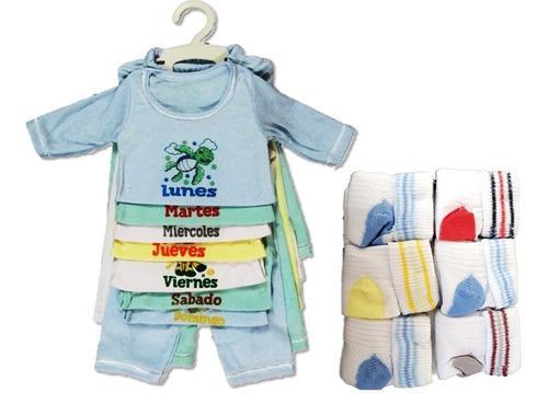 Combo semanario bebe + medias x6 recien nacido niña niño