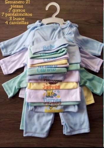 Set semanario 21 piezas para niño y niña (0-4 meses)