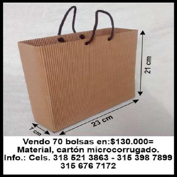 Vendo 70 bolsas en cartón microcorrugado