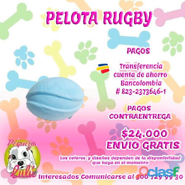 Juguete para perros pelota rugby azul