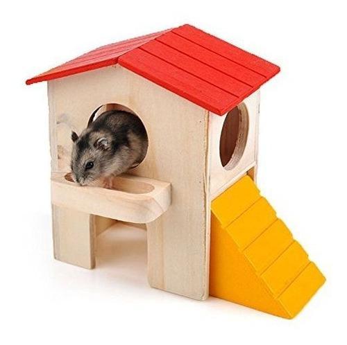 Casa de madera villa jaula ejercicio juguete hamster hedgeho