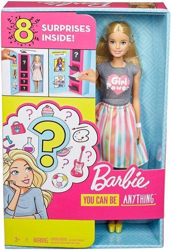 Muñeca barbie sorpresas you can be anything 8 accesorios