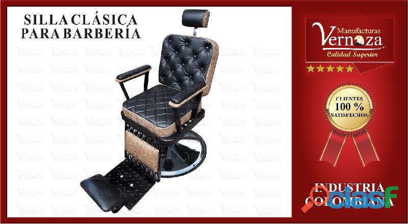 .17. silla para barberia estilo clasico en color negro