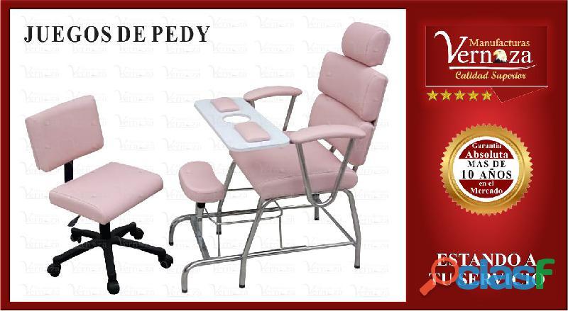 *5 silla de manicura y pedicure en madera triplex