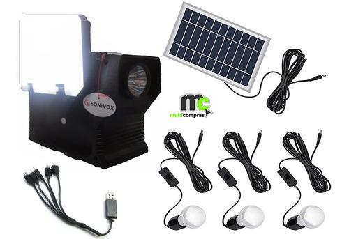 Panel solar con linterna radio portatil celulares camaras