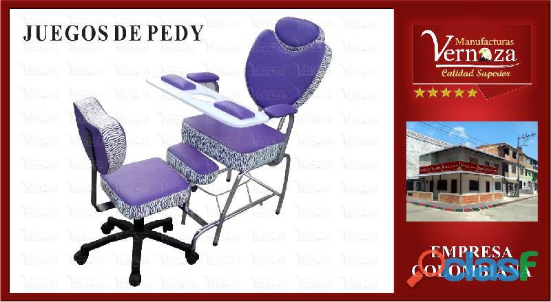 (5) delicado juego de pedy color morado