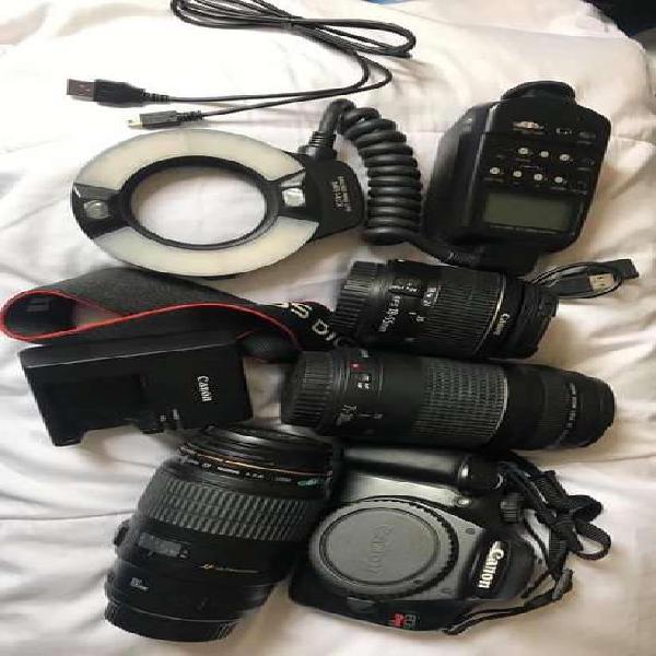 Se vende camara canon eos rebel t3, lente macro 100mm, lente