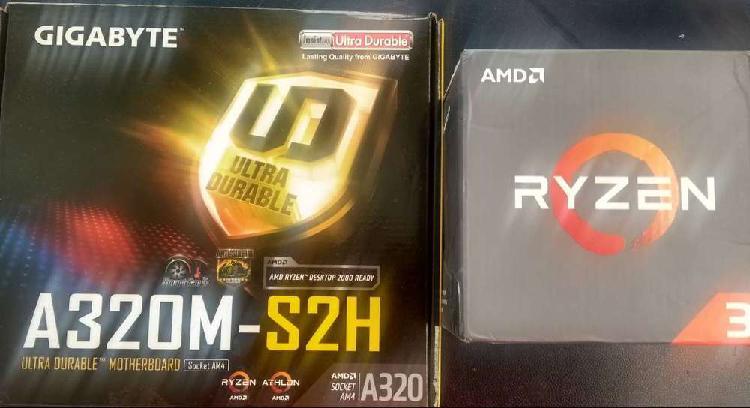 Board gigabyte a320m-s2h ddr4 + procesador ryzen 3 1200