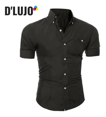 Camisas hombre manga corta slim fit ropa + reloj elegante