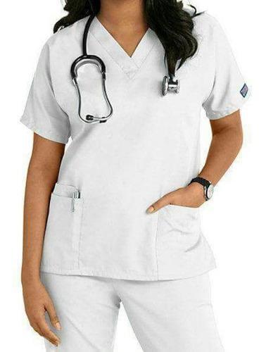 Uniforme antifluido para enfermera blanco cuello v