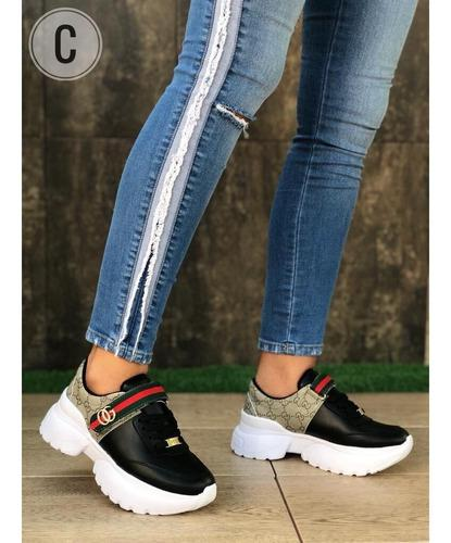 Zapatos mujer, tenis mujer, calzado moda, tipo gucci, ofert