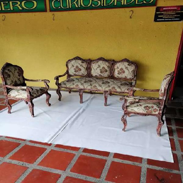 Juego sala antiguo luis xv cedro vintage gobelino