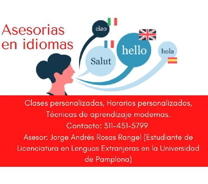 Asesorías de tareas y cursos de idiomas (ingles-francés)