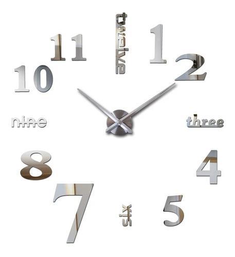Reloj pared 3d tamaño mediano 80 x 80cm color plateado