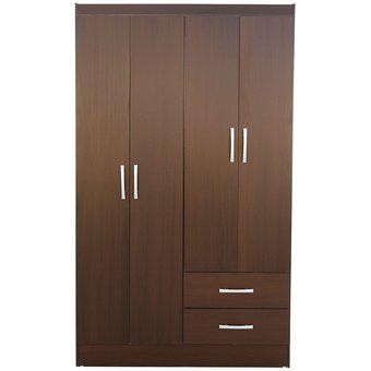 Armario 4 Puertas 2 Cajones 183X109X47Cm Chocolate Casa