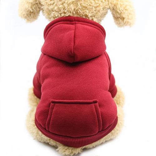 Saco con gorro sueter ropa perro pequeño - gato rojo talla