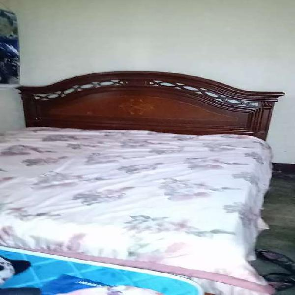 Vendo cama madera cedro colchón super ortopédico 2 x2 en