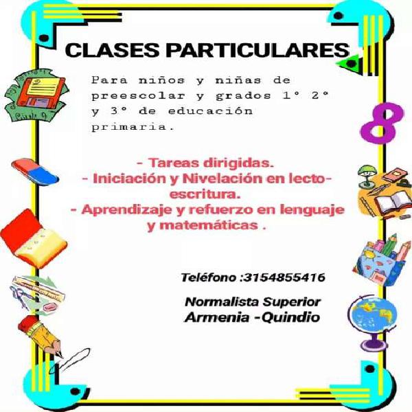 Clases particulares de refuerzo para 1,2 y 3 de primaria