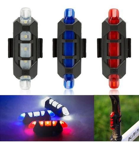 Linterna luz led recargable usb bicicleta delantera/trasera