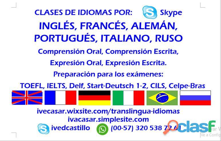 Clases de inglés, francés, portugués, alemán, italiano y ruso en línea.