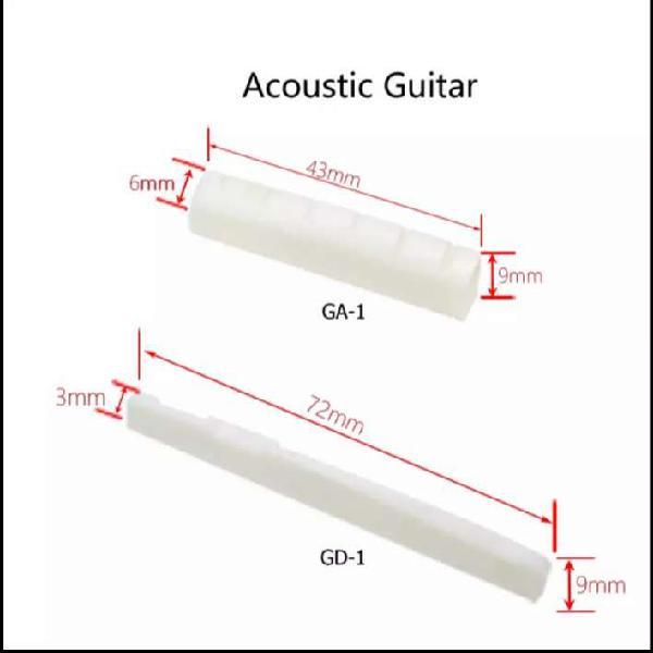 Cejilla y selleta en hueso para guitarra acústica de