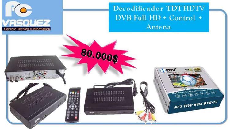 Decodificador tdt hdtv dvb full hd + control +