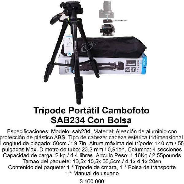 Trípode portátil cambofoto sab234 con bolsa