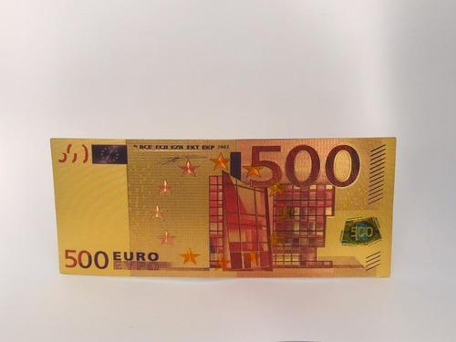 Billete de 500 euros dorada plastificado suerte