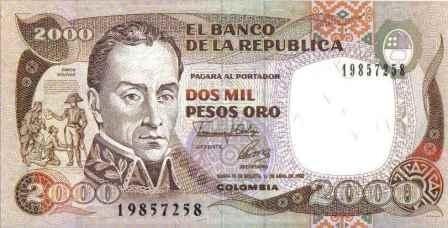 Colombia, 2000 pesos 1 abr 1992 bgw452