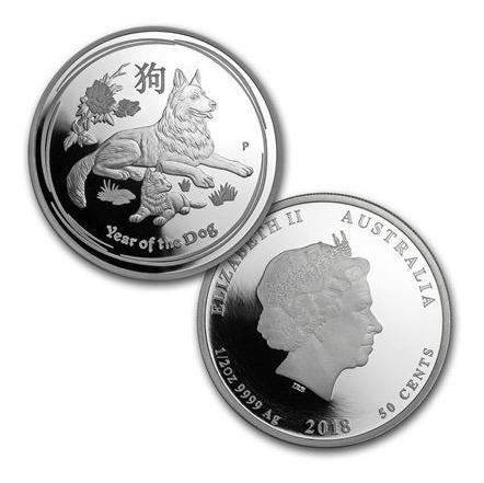 Moneda de plata de colección australia fauna año del perro