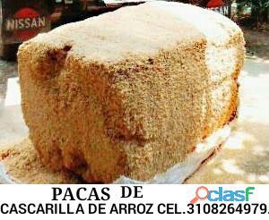 Vendo cascara de arroz en bultos, pacas y a granel cel. 3108264979