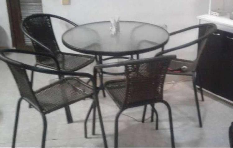 Comedor 4 puestos con mesa redonda negra con vidrio 80 cm